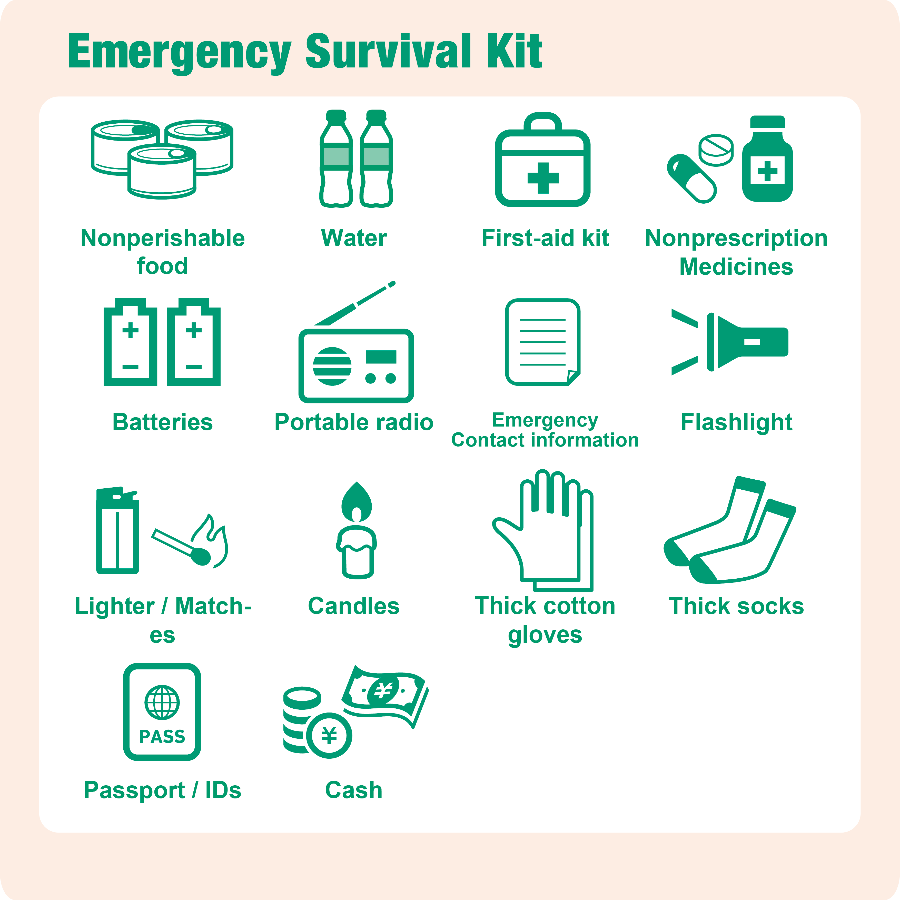 The Above Items Should Be Kept In A Backpack Or Somewhere Accessible Where They Can Quickly Packed You Need To Evacuate