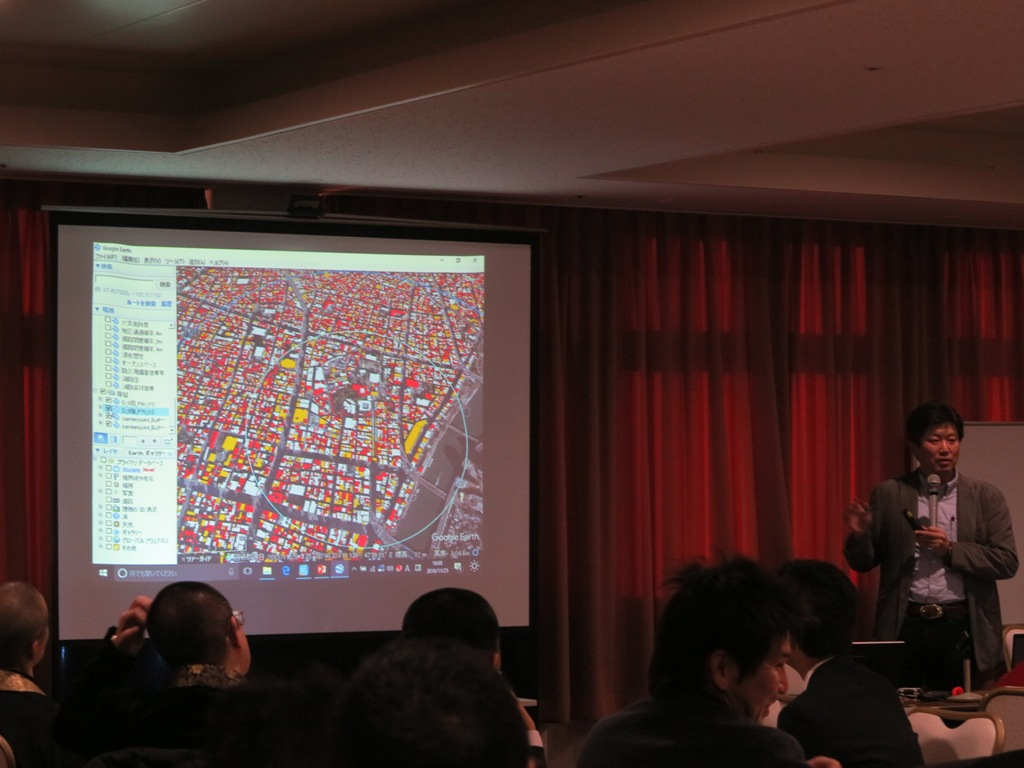 The red areas of the map show buildings projected to be destroyed in the event of a powerful earthquake.