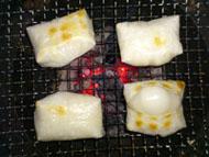 backing mochi with Shichirin